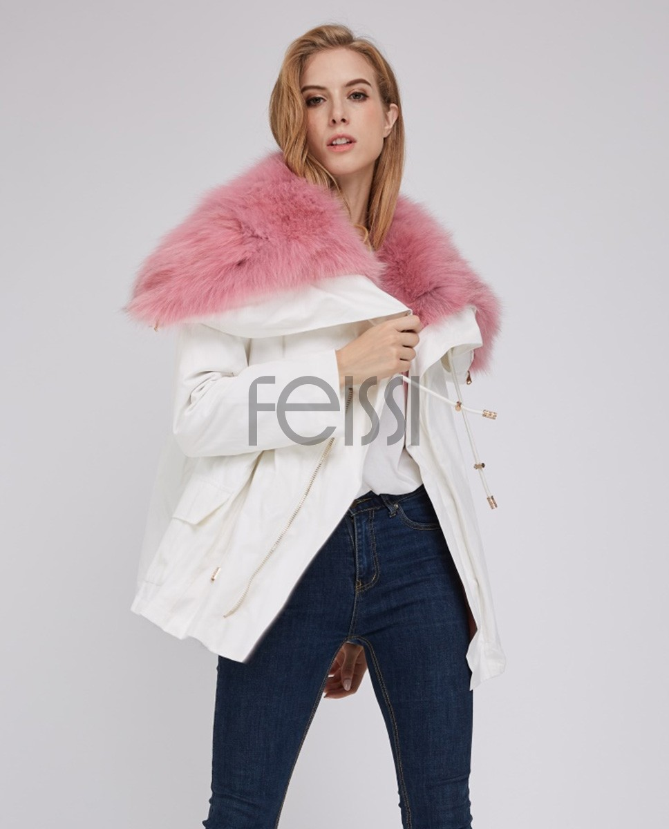 Detachable Fox Fur Lined Cropped Parka with Zipped Hood 246a