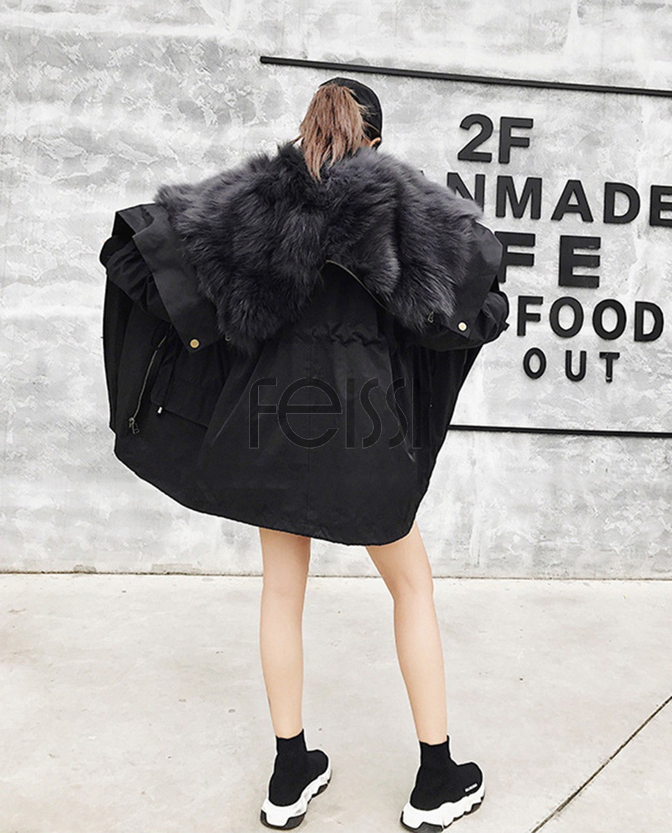 Detachable Fox Fur Liner Parka with Zipped Hood 014a