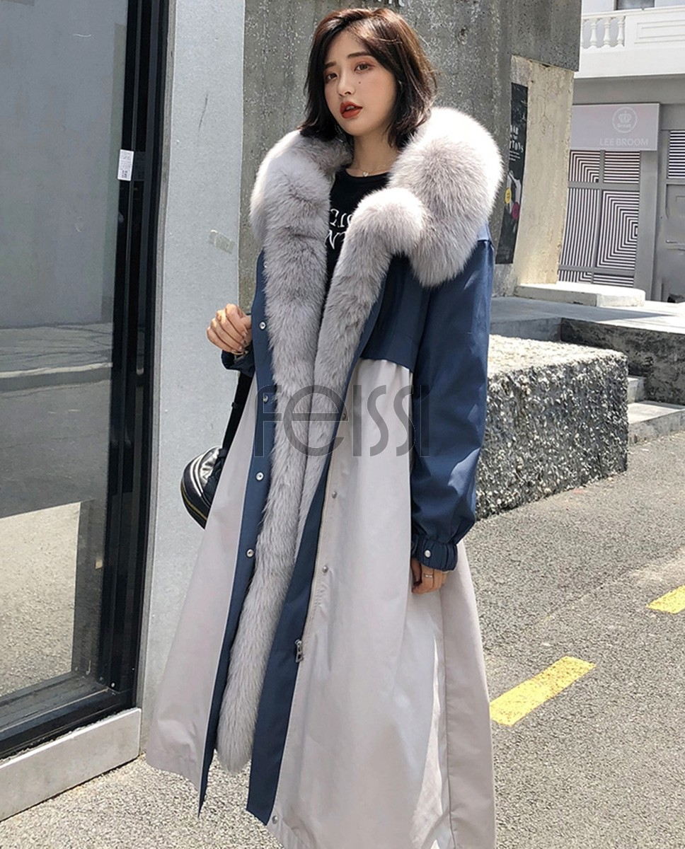 Fox Fur Trim Long Parka Trench Coat with Down-Filled Liner 280a