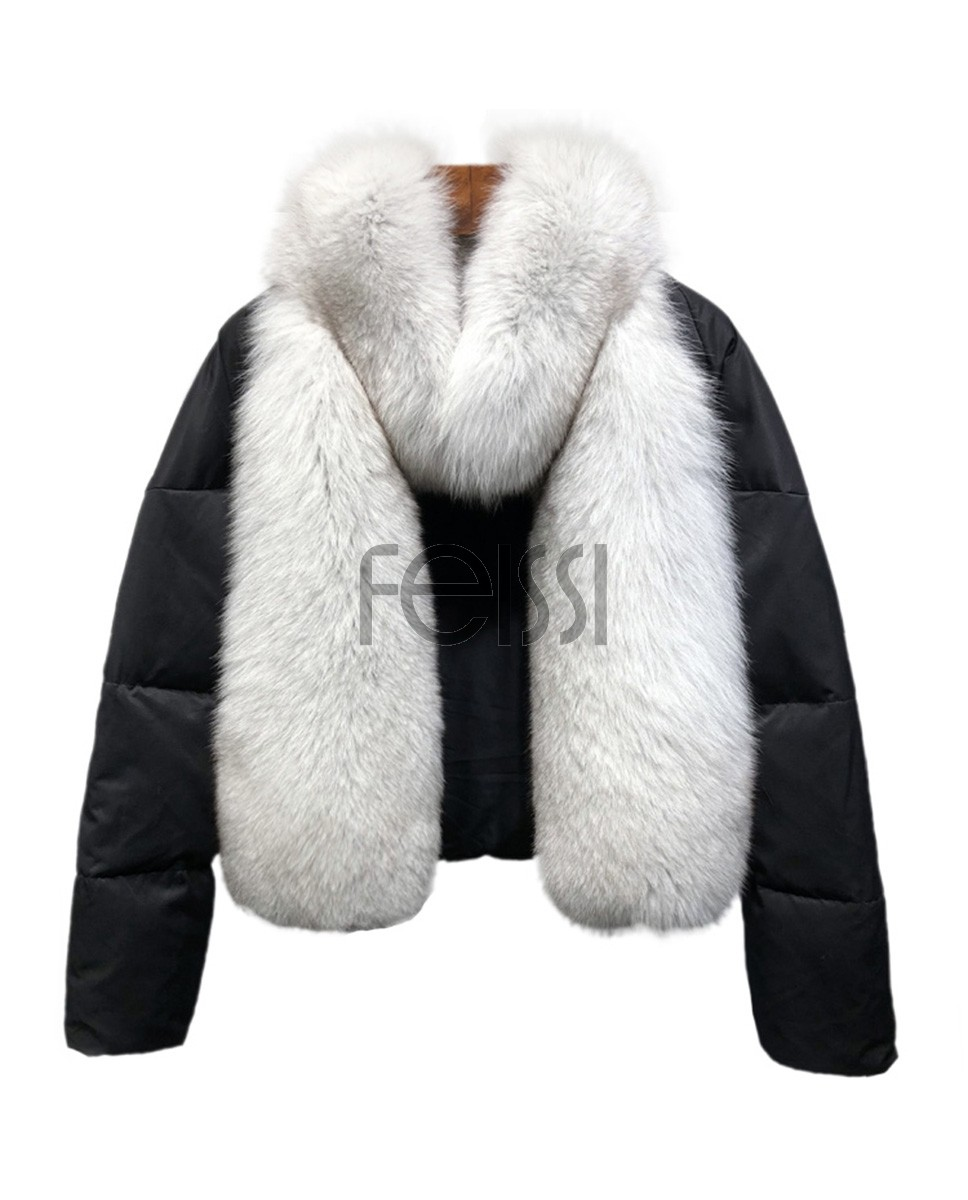 Fox Fur Trimmed Down-filled Cropped Coat Jacket Parka 0023ba
