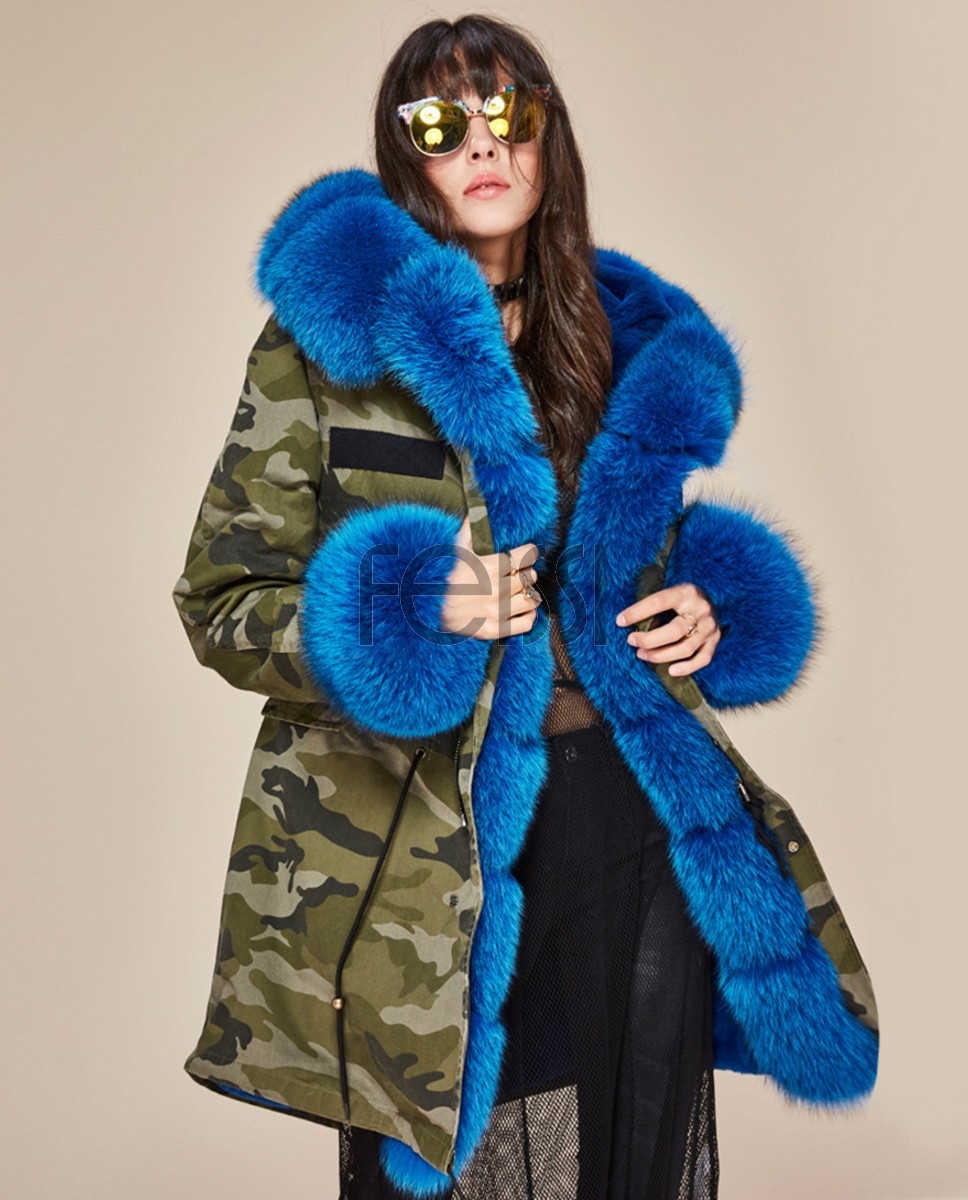 Fox Fur Trimmed Hooded Parka with Detachable Liner 133b