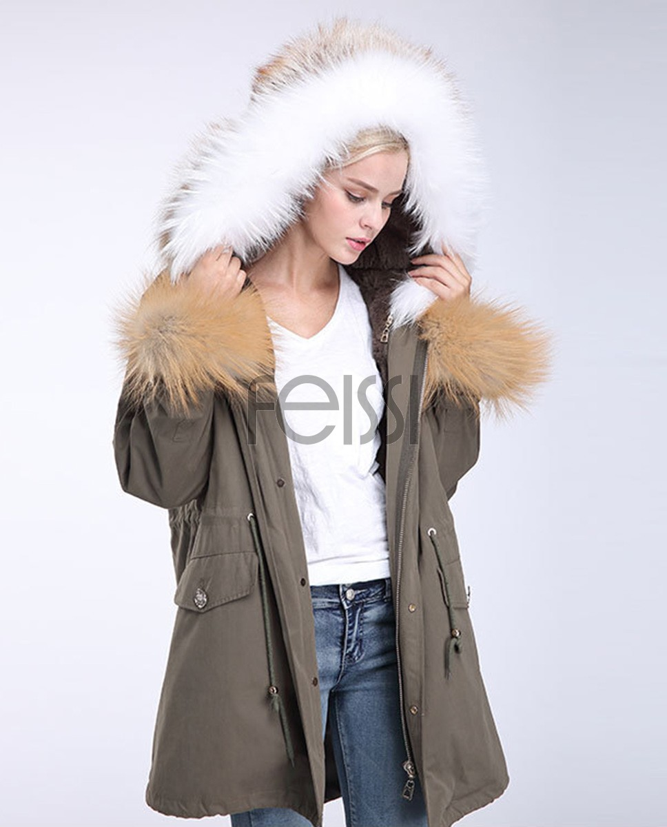 Fox Fur Trimming Hooded Parka with Detachable Rex Rabbit Fur Liner 942 Green 1