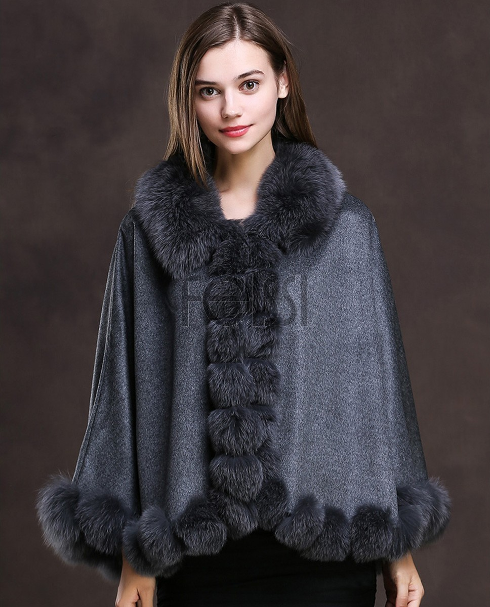 Fox Trimmed Cashmere Cape 139-Gray-1