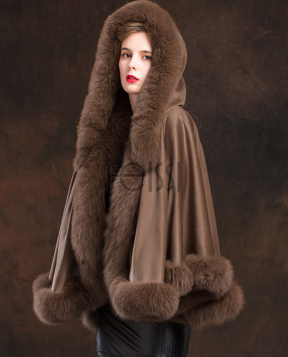 Fox Trimmed Cashmere Cape with Hood 137-Coffee-1