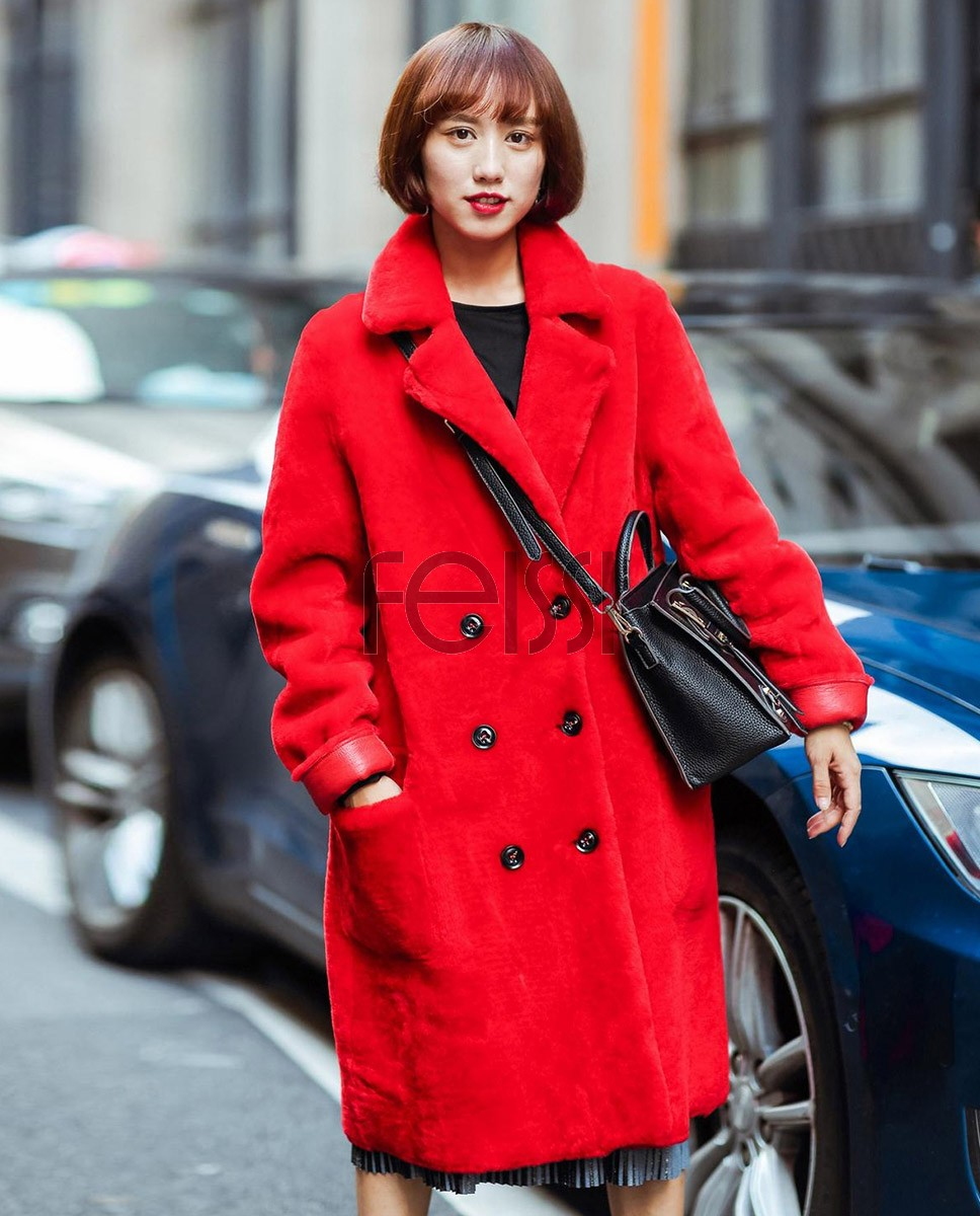 Full Length Shearling Lambwool Coat 706_1
