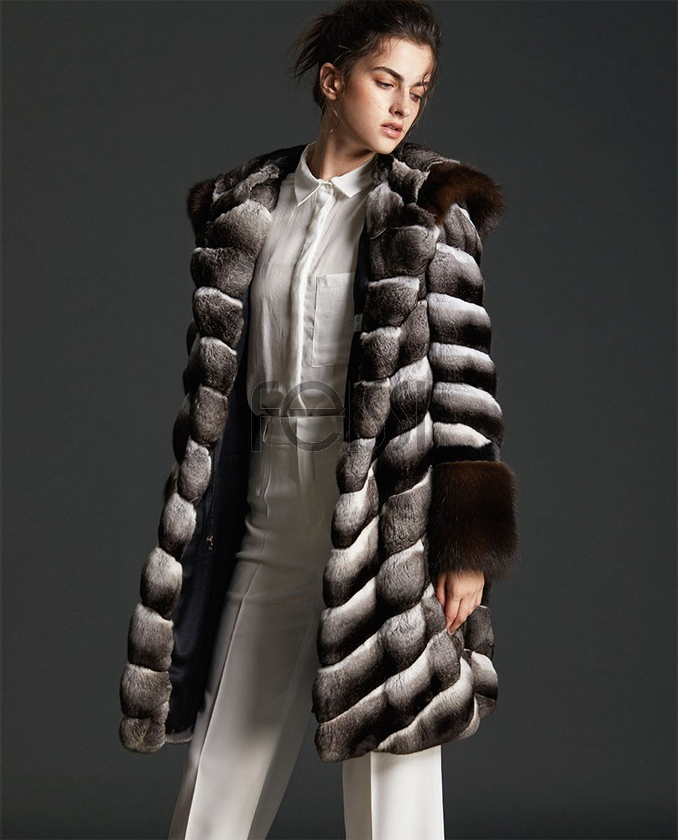 Hooded Chinchilla Fur Coat with Sable Fur Trimming 0087a
