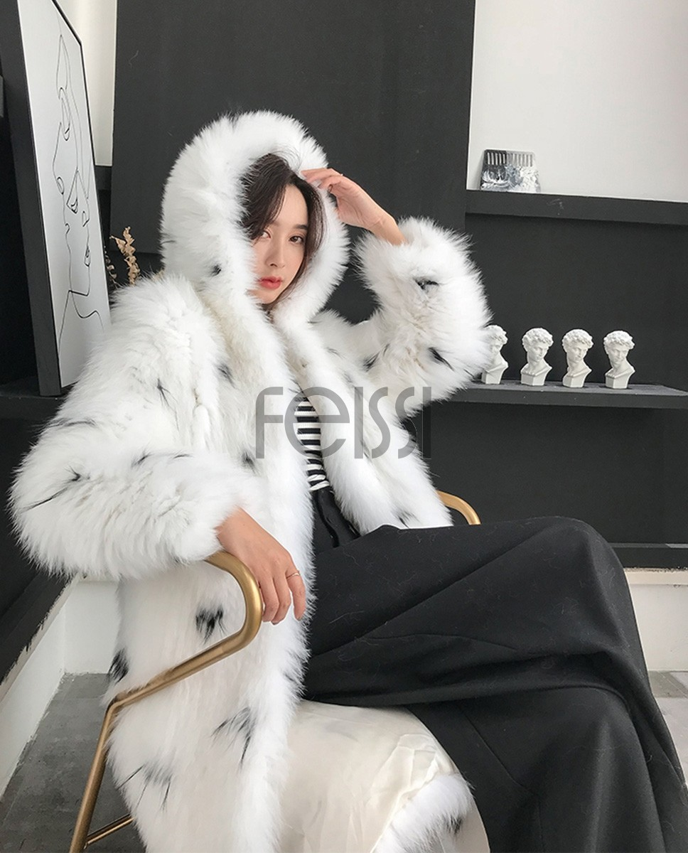 Hooded Knitted White Fox Fur Long Coat 318a