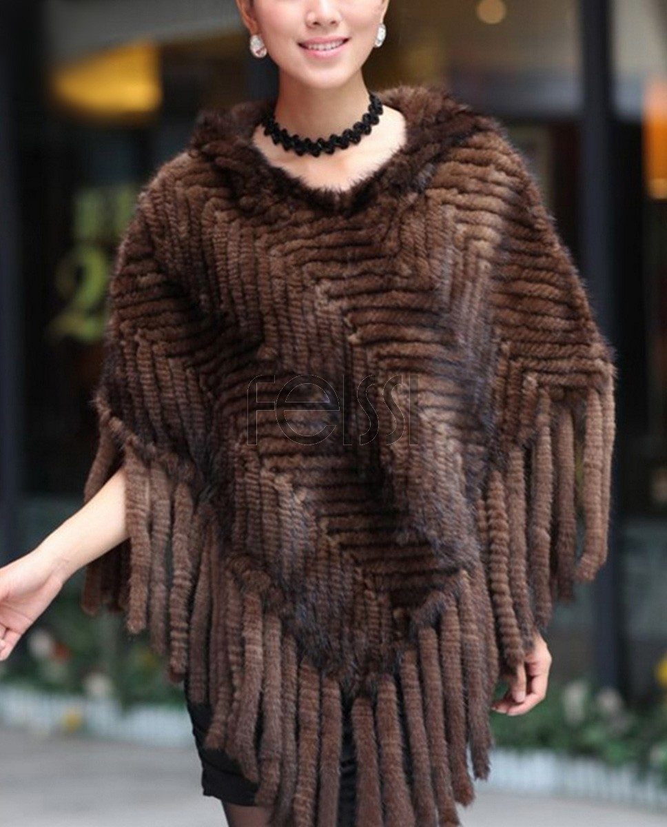 Hooded Mink Fur Knitted Cape 2