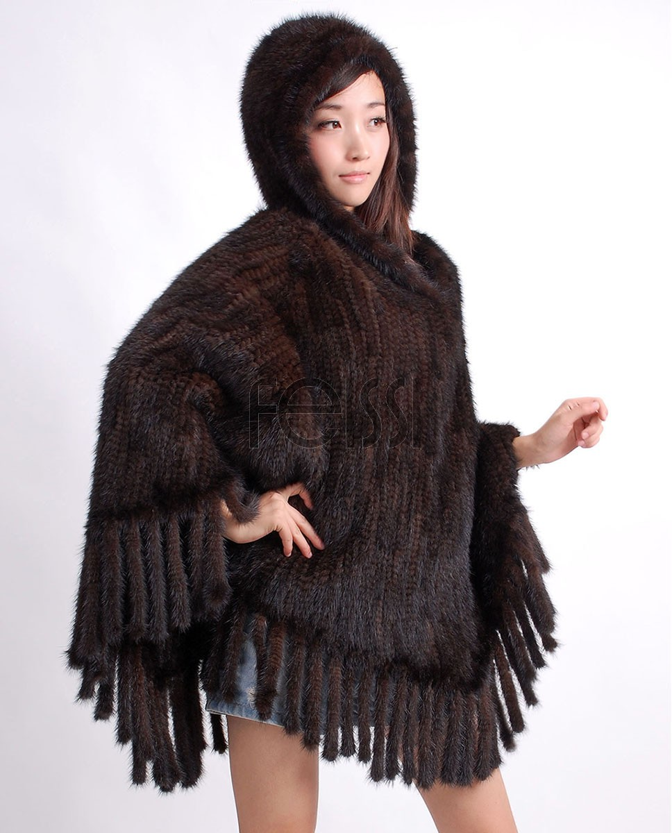 Hooded Mink Fur Knitted Cape ffcamk64-1