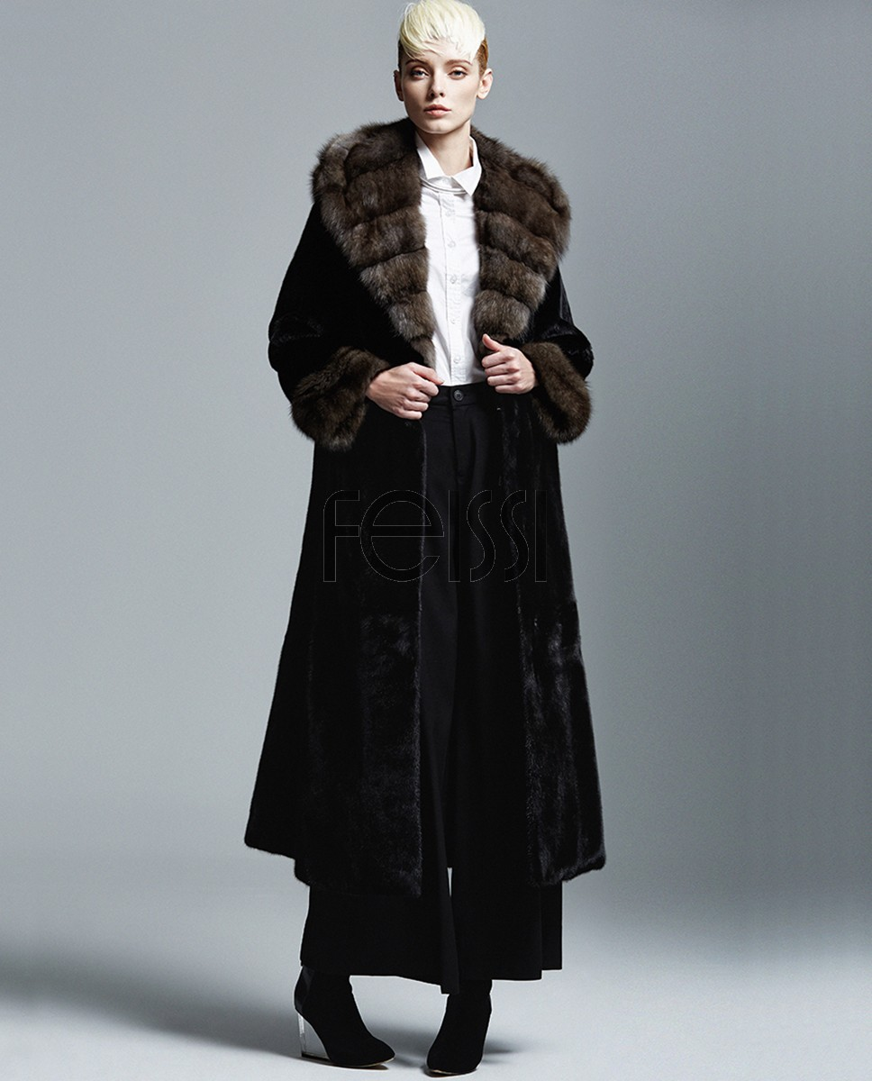Hooded Mink Fur Long Coat with Sable Fur Collar and Cuffs 143a