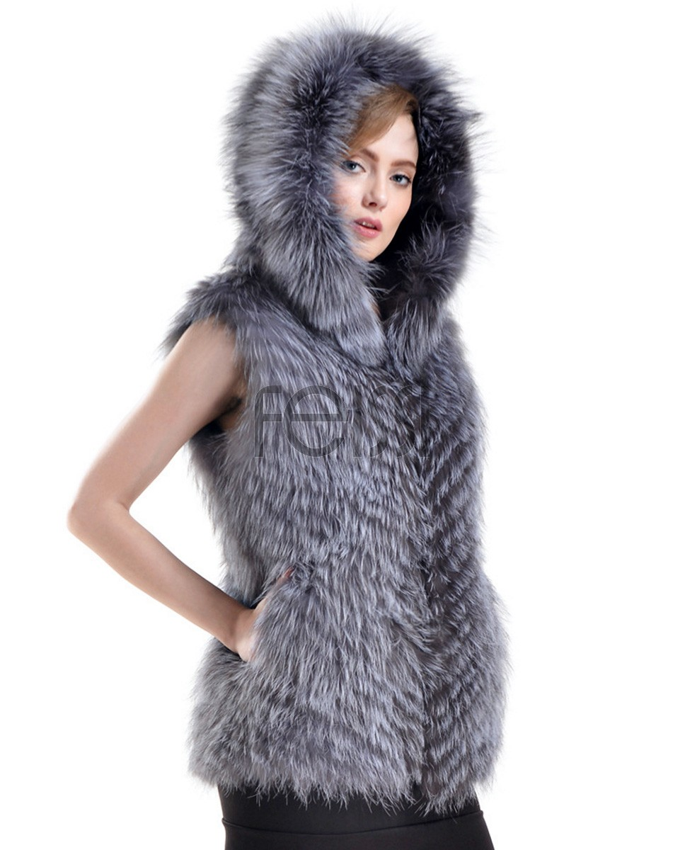 Hooded Silver Fox Fur Vest 727a