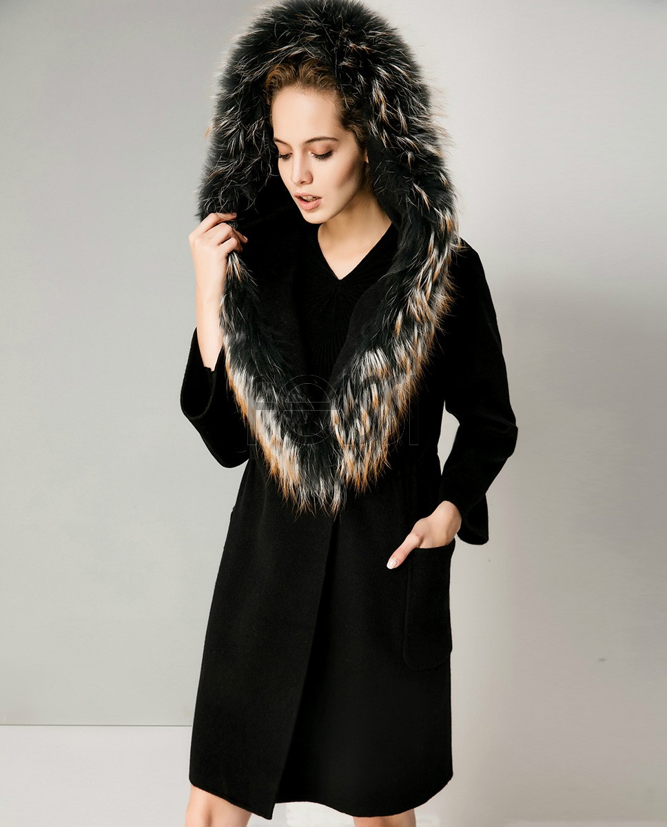 Hooded Woolen Coat With Raccoon Trimming 713a