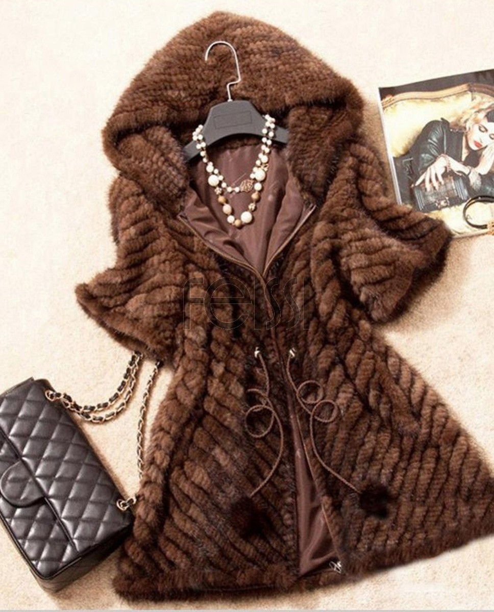 Knitted Mink Fur Jacket With Hood 749 Coffee 1