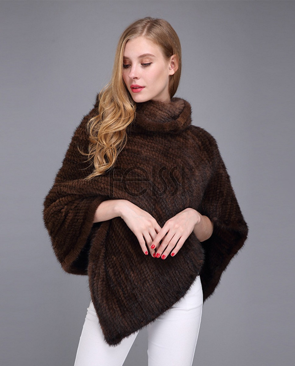 Knitted Mink Fur Poncho 974c