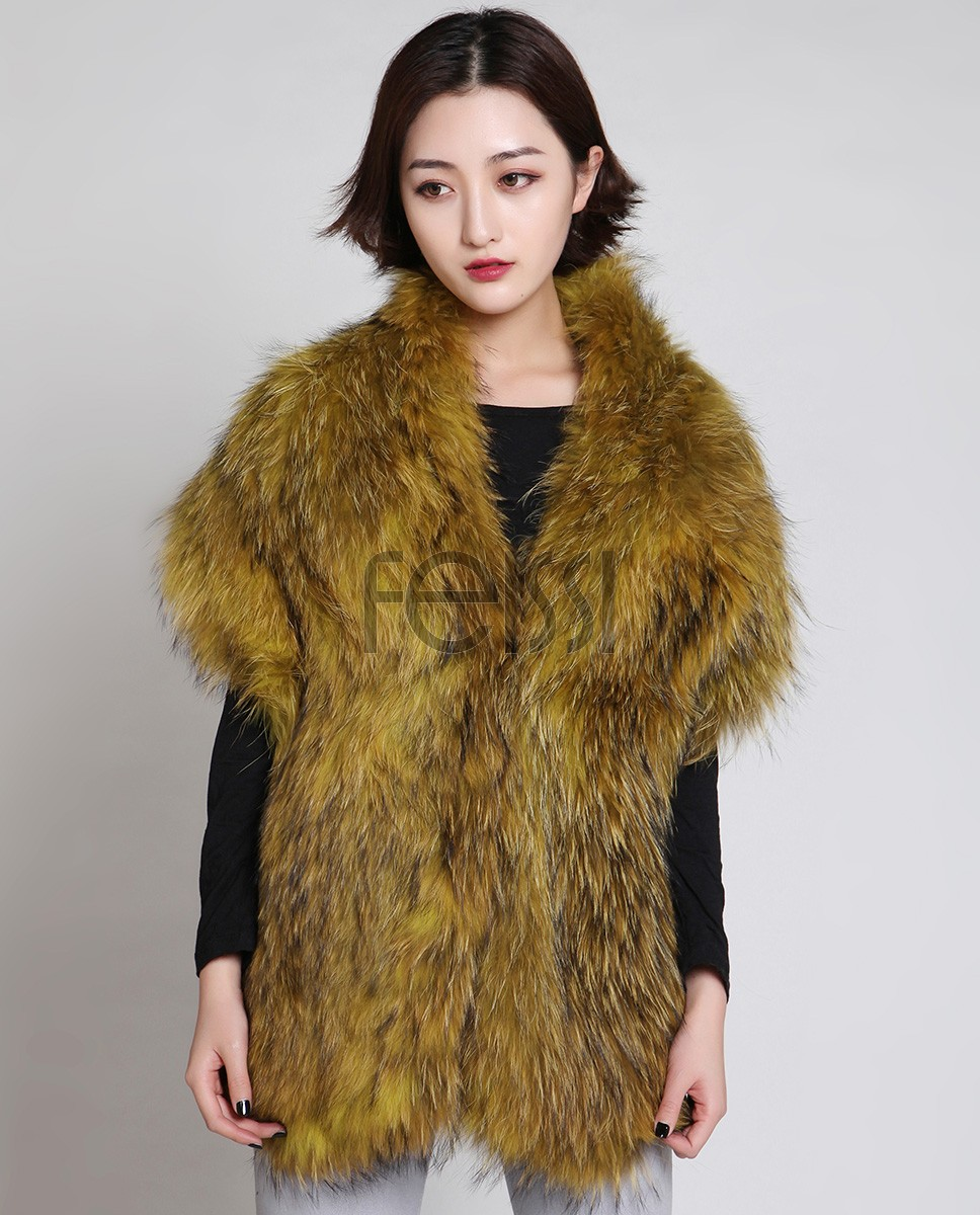 Knitted Raccoon Fur Stole 885 Olive 1