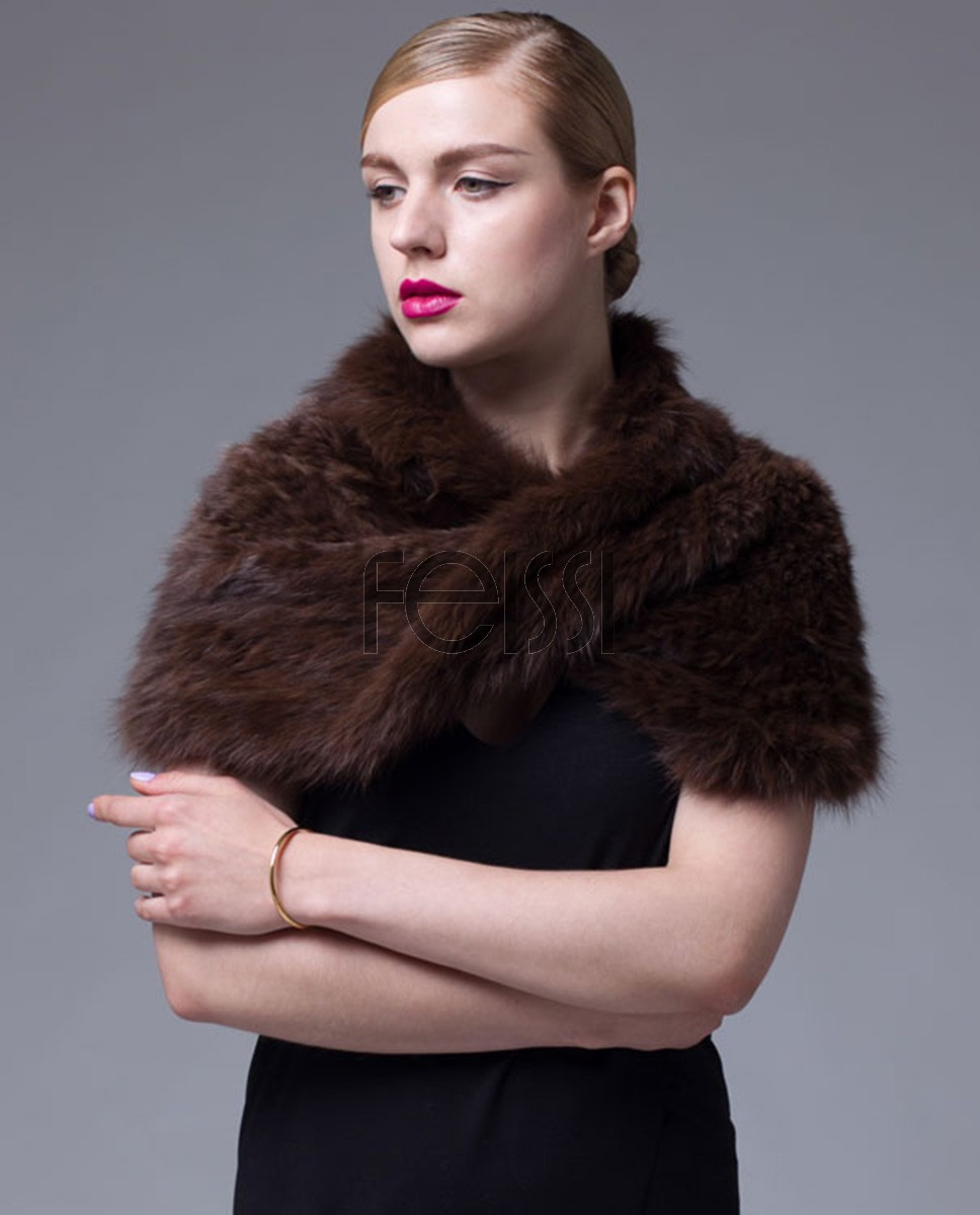 Knitted Sable Fur Capelet Infinity Scarf 061a