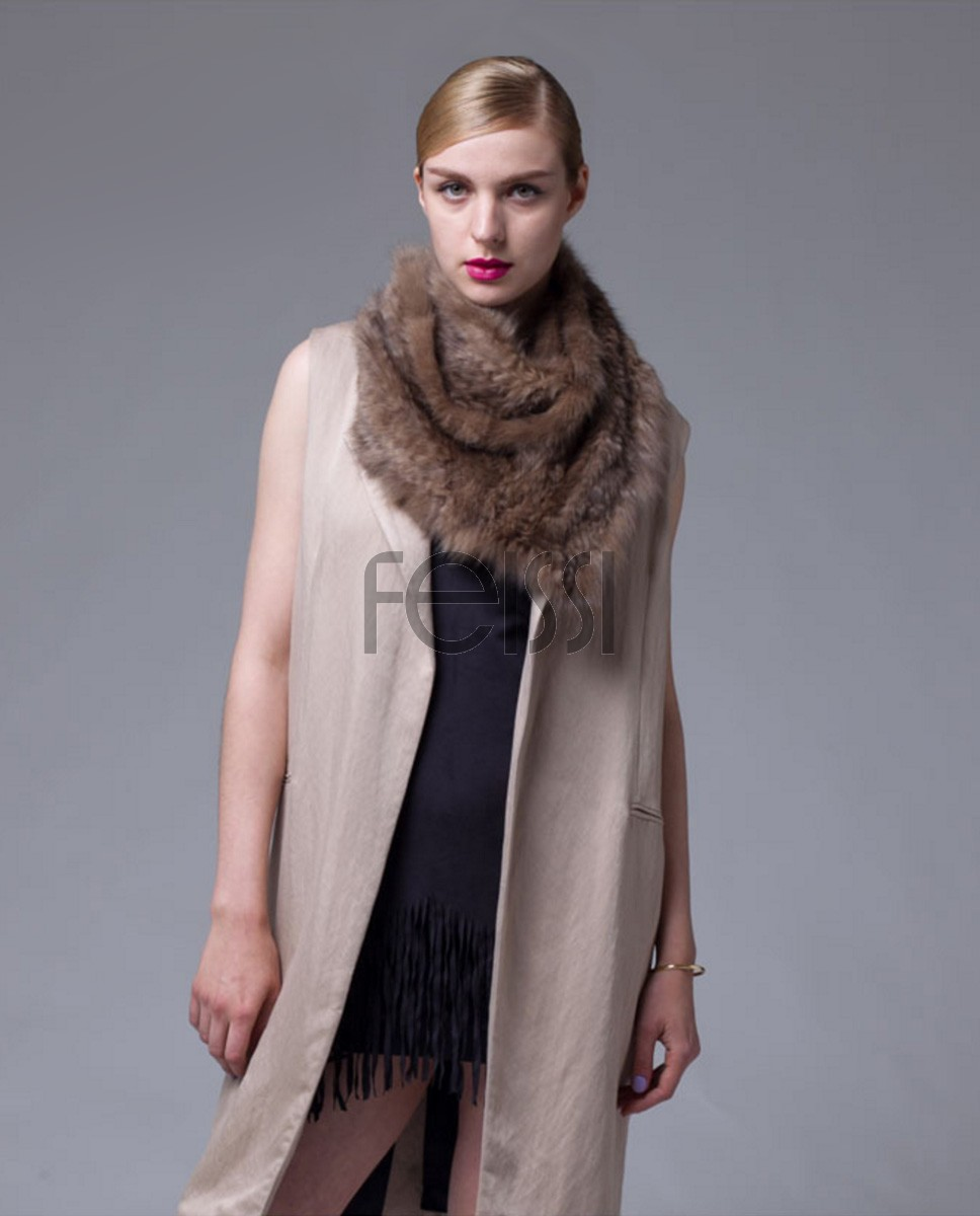 Knitted Sable Fur Scarf 062a
