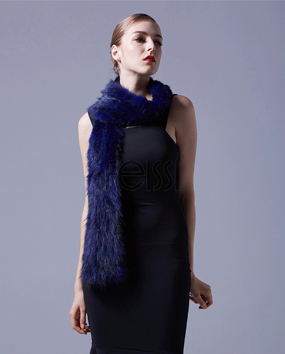 Knitted Sable Fur Scarf 066a
