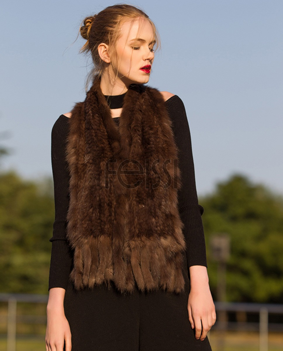 Knitted Sable Fur Scarf Shawl 033a