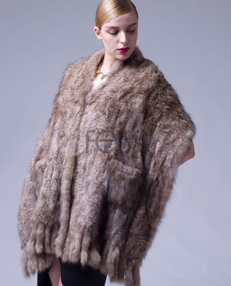 Knitted Sable Fur Shawl 064a