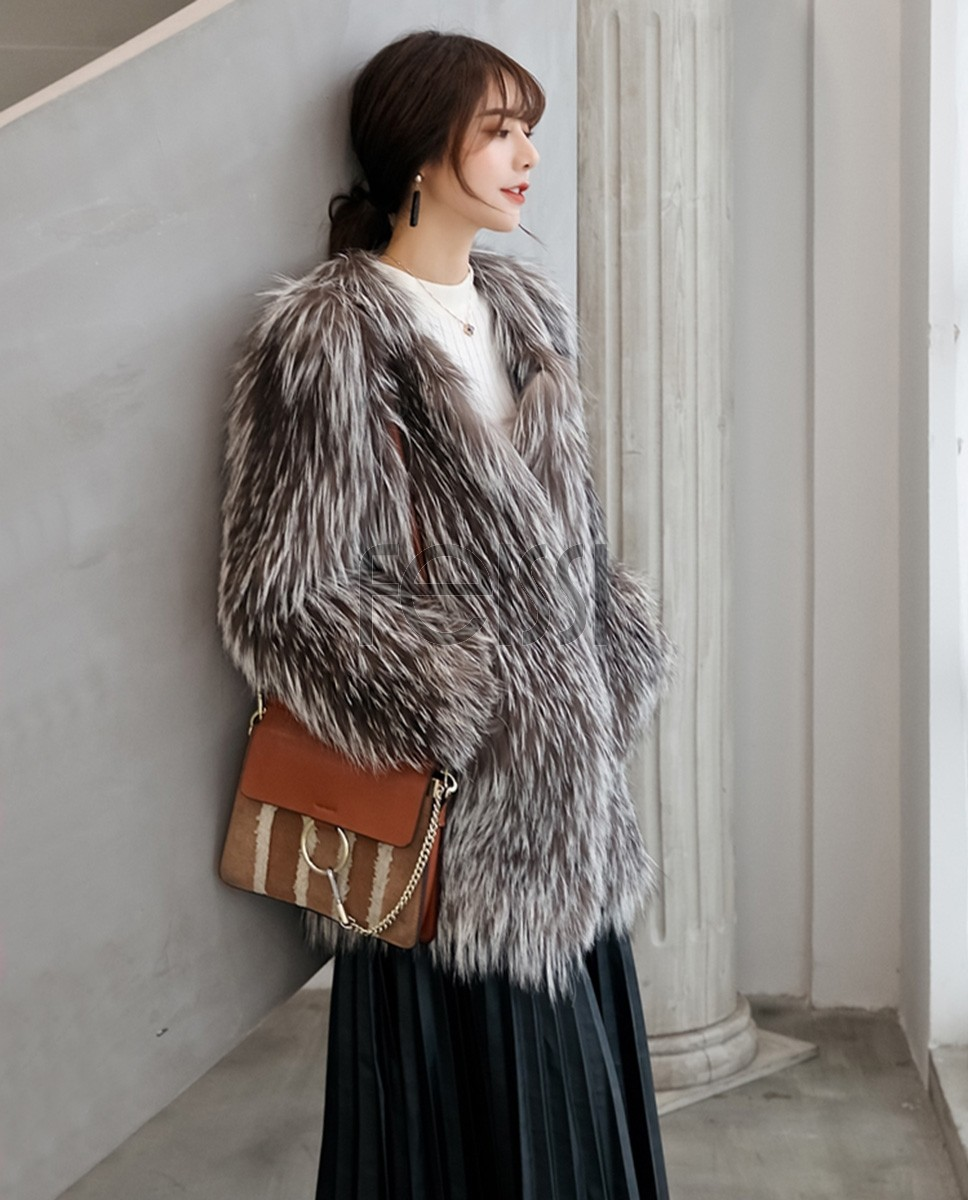 Knitted Silver Fox Fur Coat 0020a