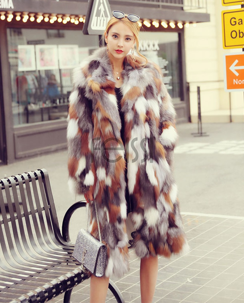Long Length Genuine Multicolor Fox Fur Winter Coat 983a
