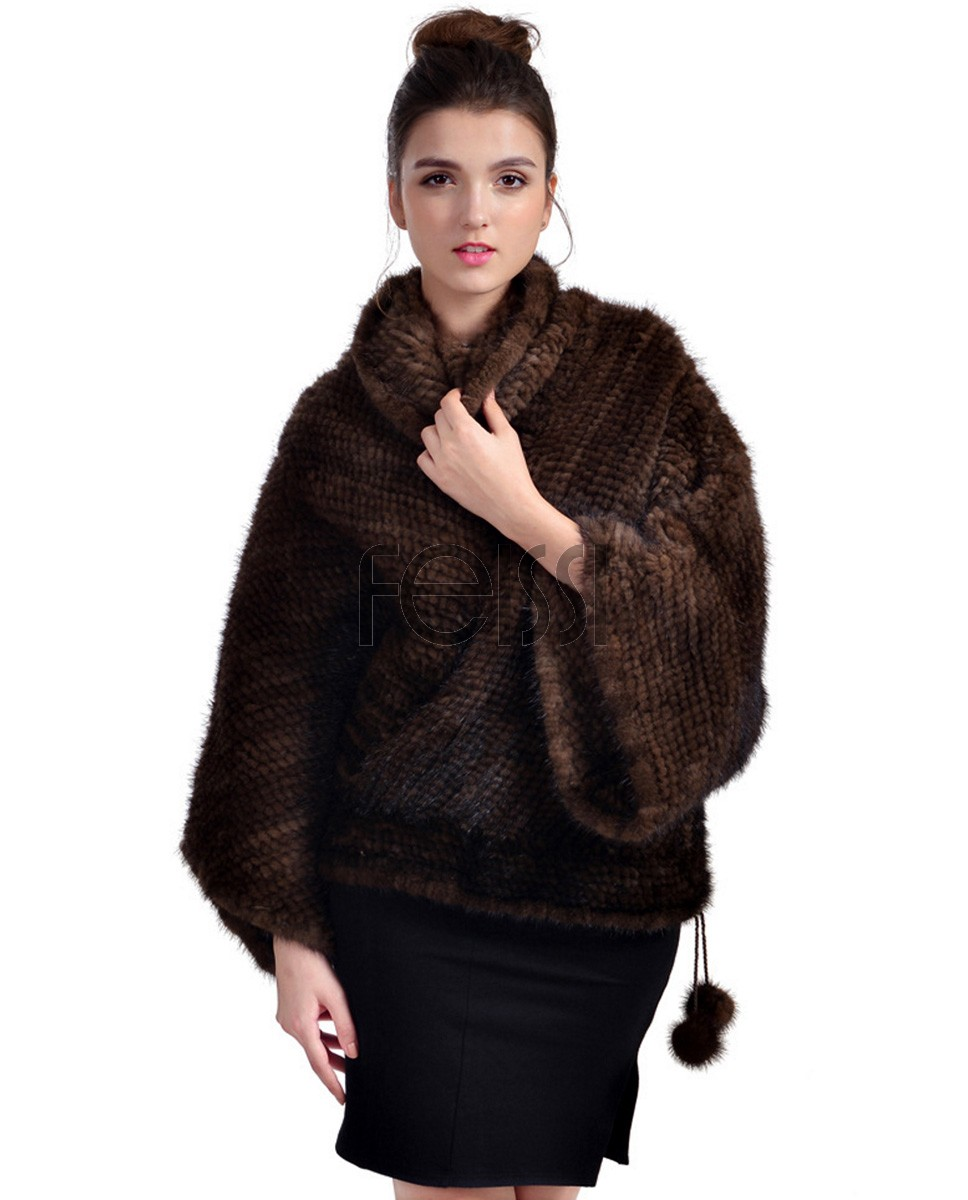 Mink Fur Knitted Poncho 750 Coffee 1