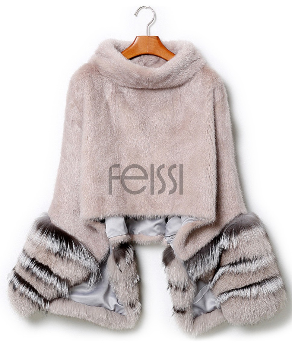Mink Fur Pullover Poncho with Detachable Silver Fox Fur Cuff 755 Gray 1