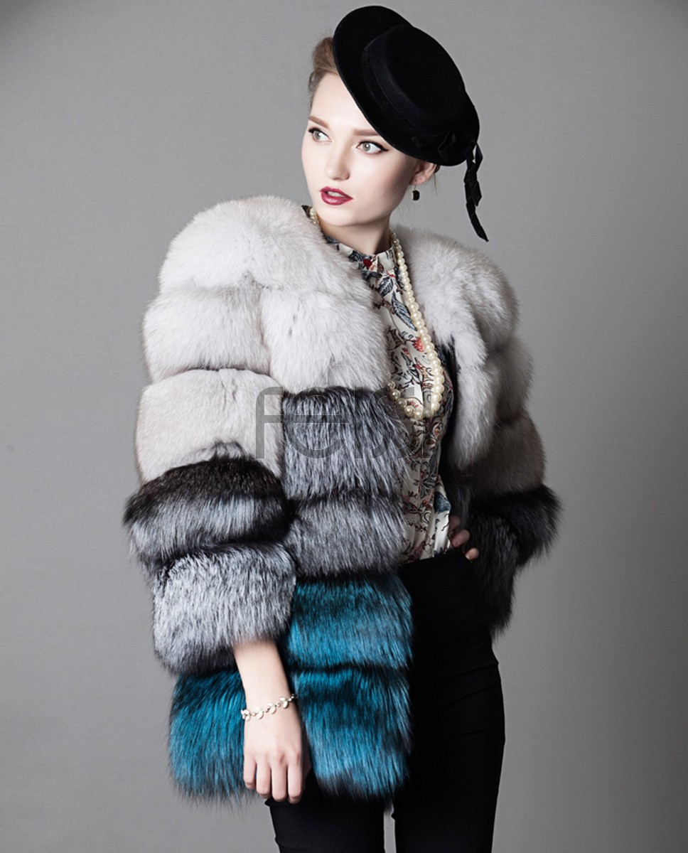 Multicolored Fox Fur Jacket 919a
