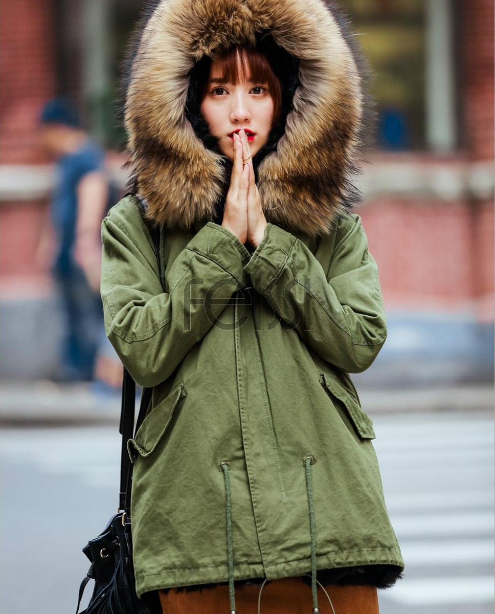 Raccoon Fur Hooded Short Parka 704-1