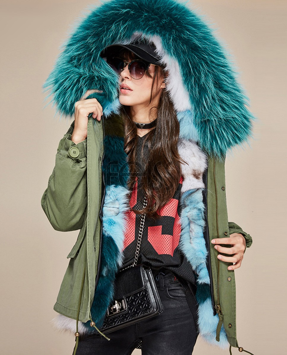 Raccoon Fur Trimmed Hooded Parka with Detachable Fox Fur Liner 116aa