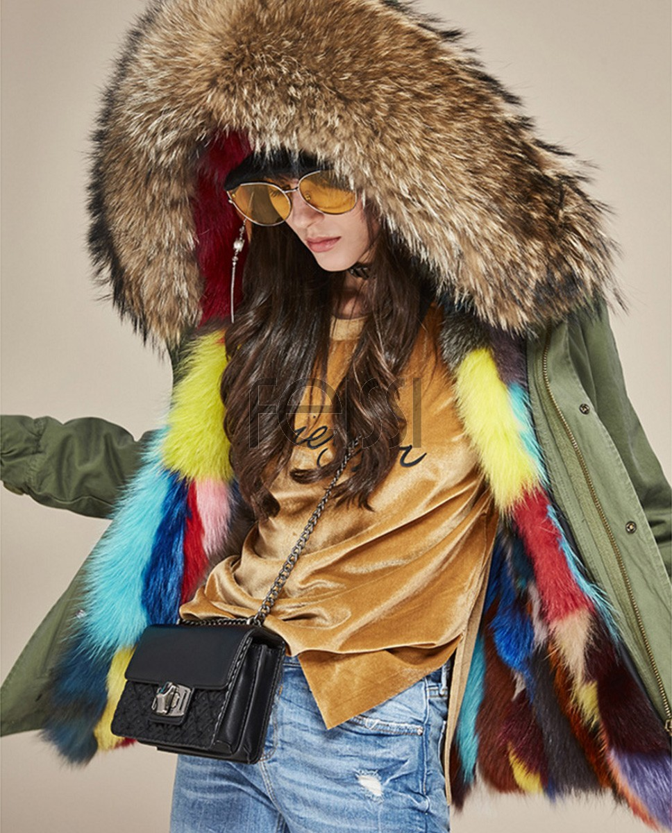 Raccoon Fur Trimmed Hooded Parka with Detachable Fox Fur Liner 116ba