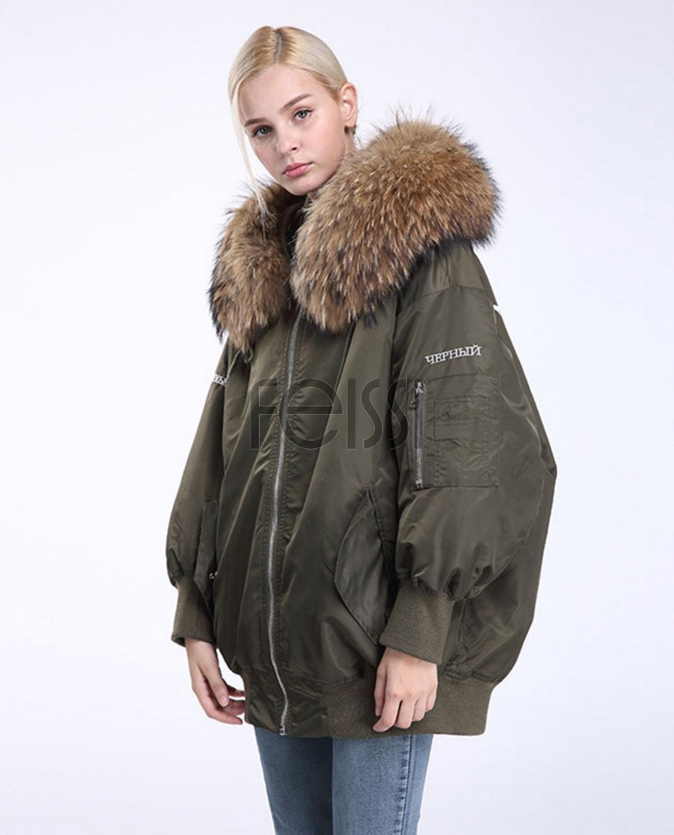 Raccoon Fur Trimming Hooded Parka with Detachable Down-filled Liner 936a