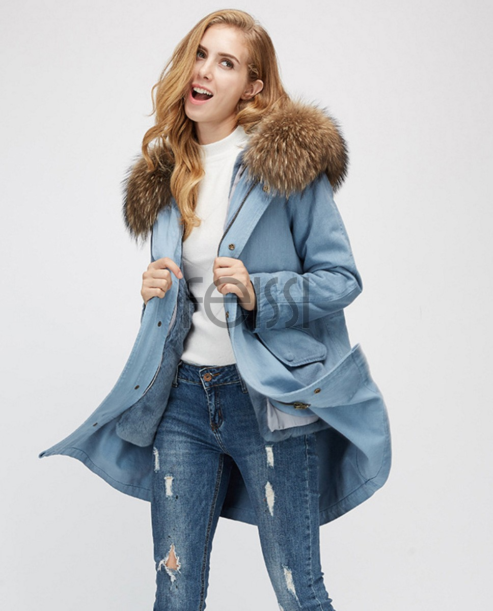 Raccoon Fur Trimming Hooded Parka with Detachable Rex Rabbit Fur Liner 939a