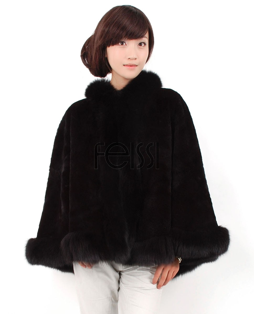 Rex Rabbit Fur Cape with Fox Fur trim ffcarr04-1