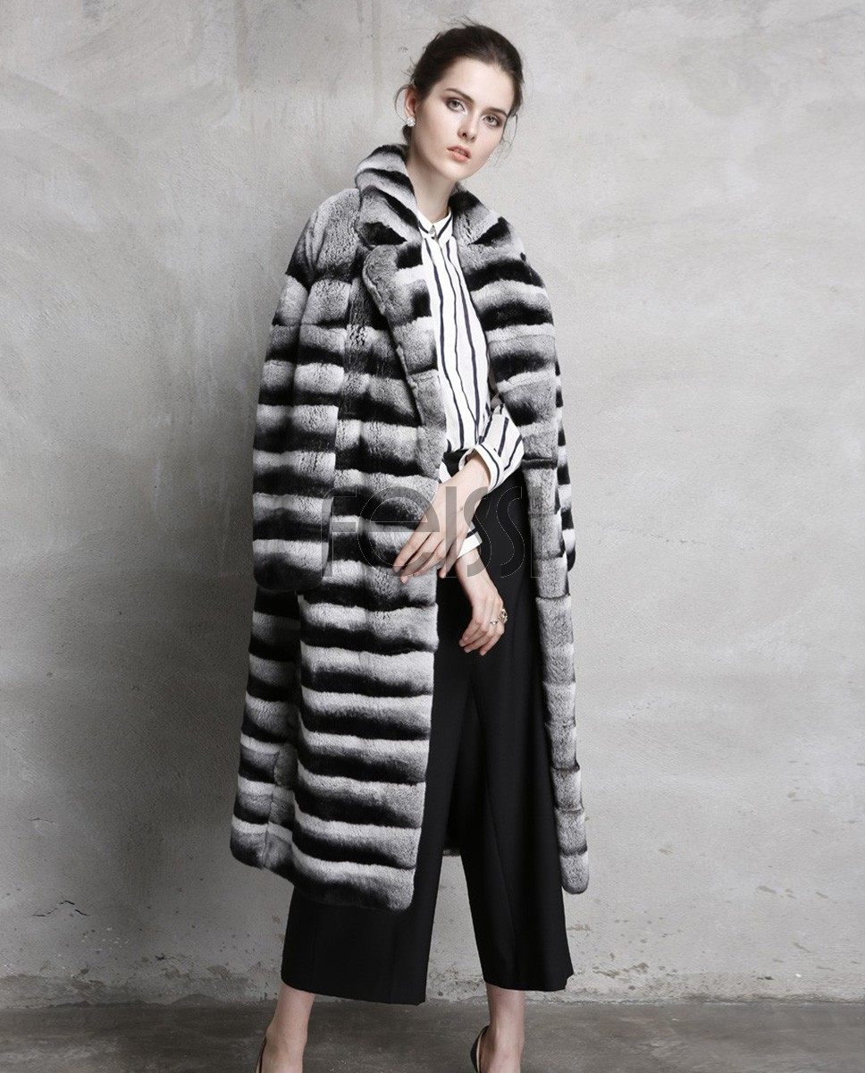 Rex Rabbit Fur Coat with Chinchilla Look 758 Gray 1