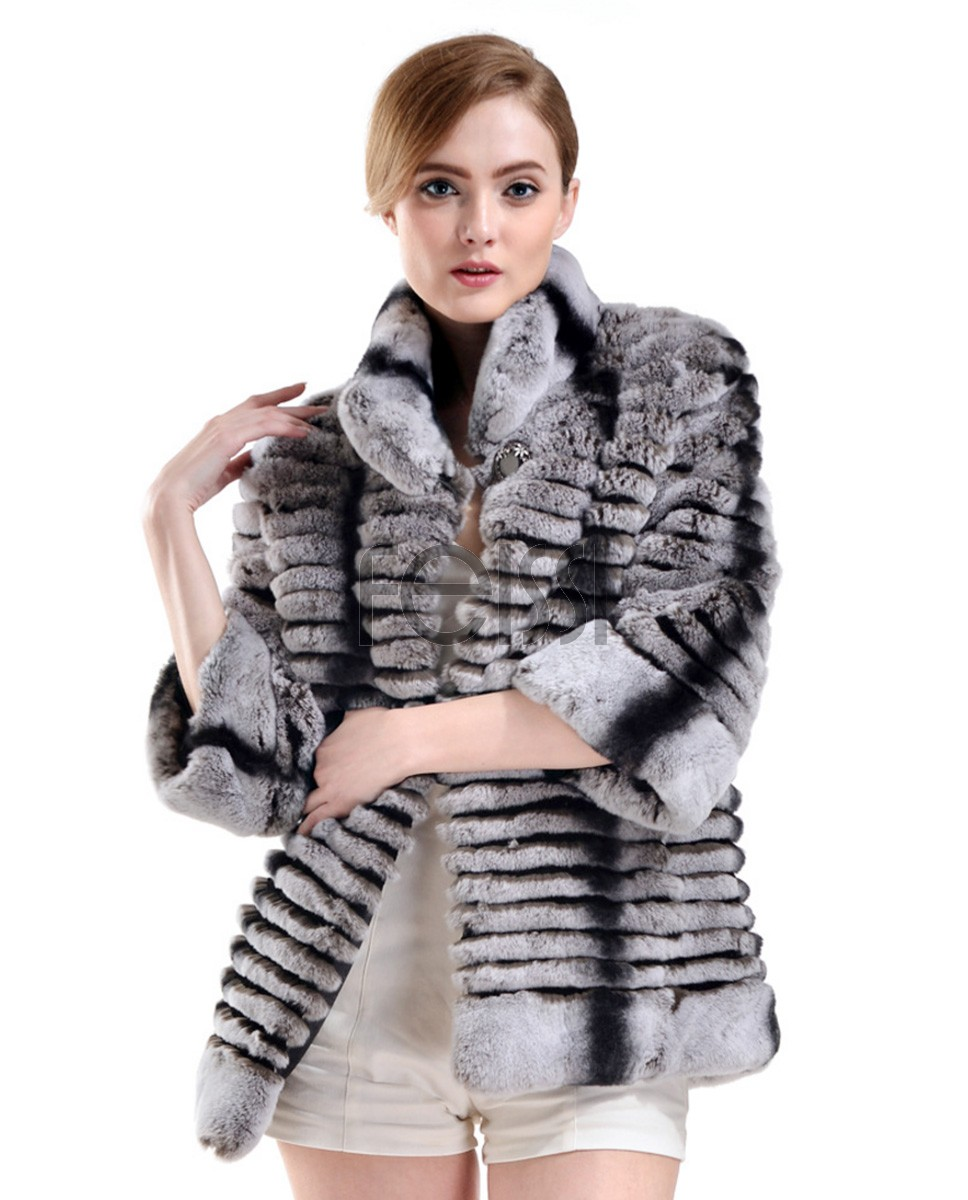 Rex Rabbit Fur Cropped Jacket with Chinchilla Fur Look 729a