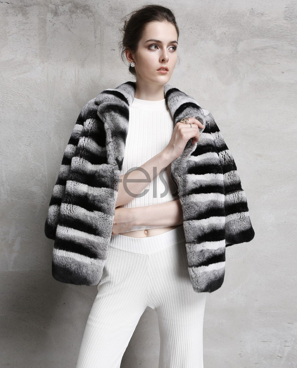 Rex Rabbit Fur Jacket with Chinchilla Look 757 Gray 1