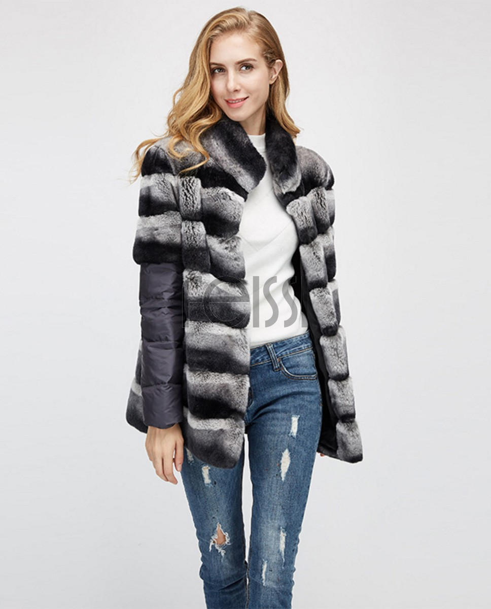 Rex Rabbit Fur Jacket with Detachable Sleeves 955a