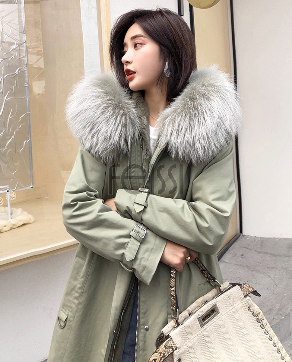 Rex Rabbit Fur Lined Long Parka with Raccoon Fur Trimmed Hood 284a