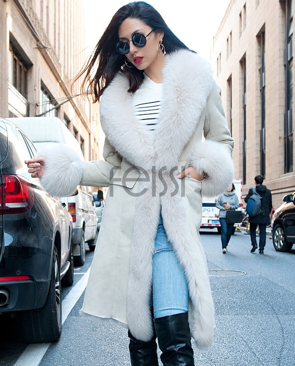 Shearling Sheepskin Coat with Fox Fur Trim 099a