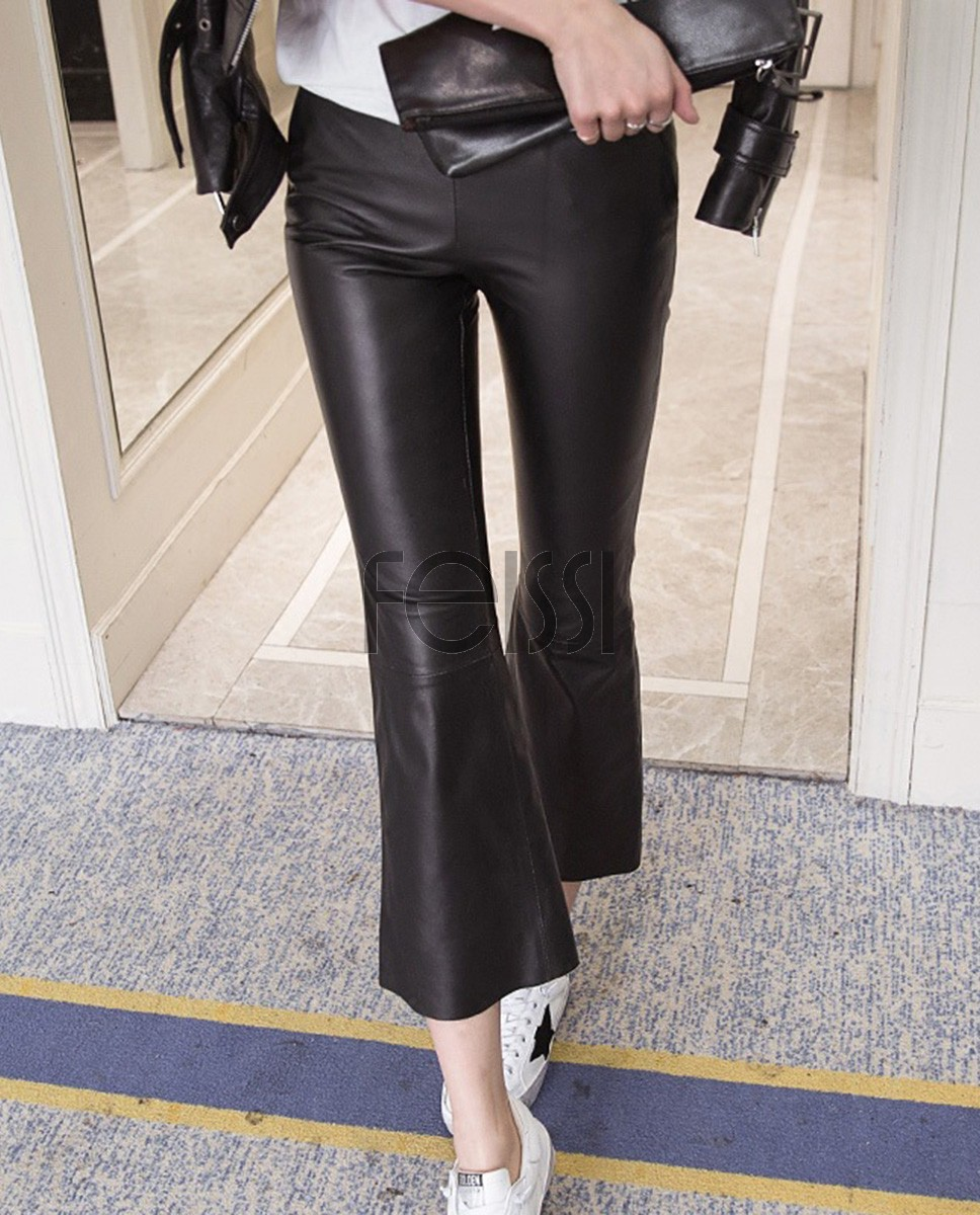 Sheepskin Real Leather Cropped Pants 021a