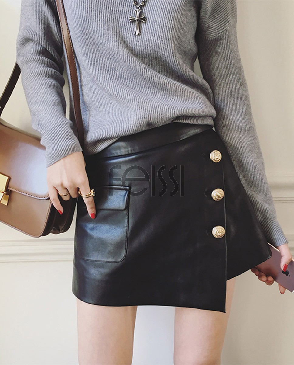 Sheepskin Real Leather Short Culottes 019a
