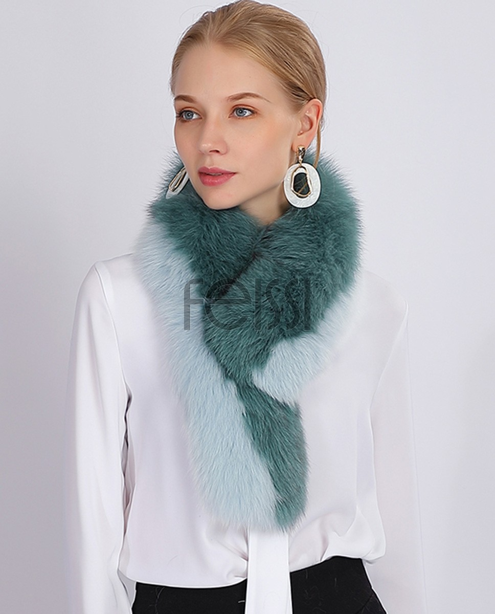 Two-tone Fox Fur Scarf 370b