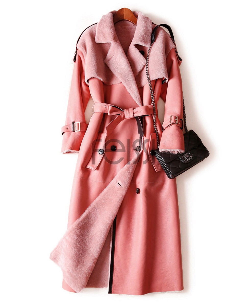 Welted Shearling Sheepskin Coat 747 Pink 1
