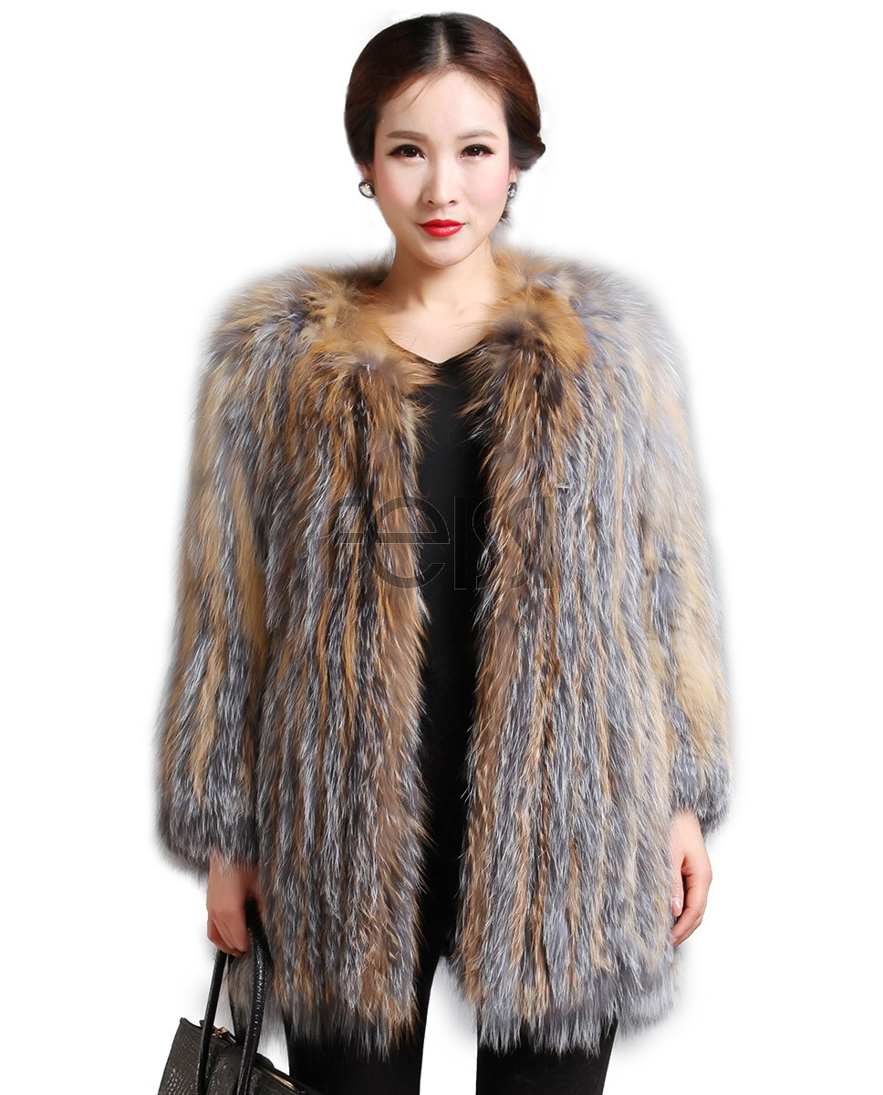 Women's Knitted Fox Fur Coat 593_1