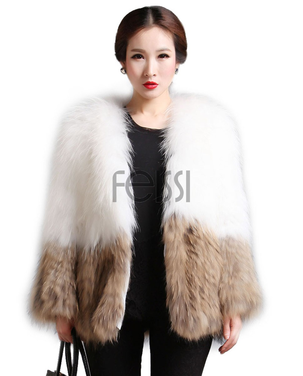 Women's Knitted Raccoon Fur Coat 601_1
