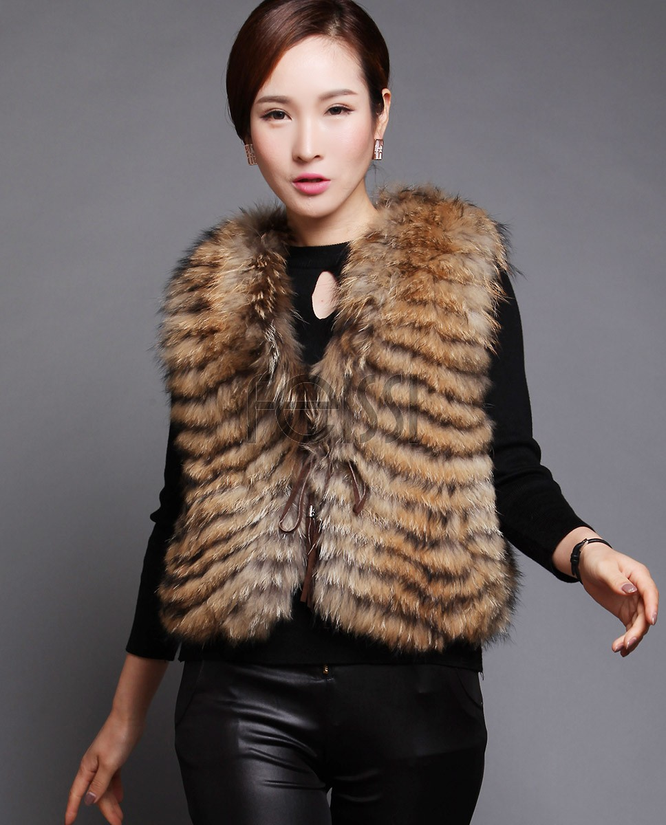 Women's Raccoon Fur Vest 604_1