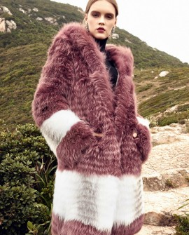 3/4 Length Hooded Fox Fur Coat