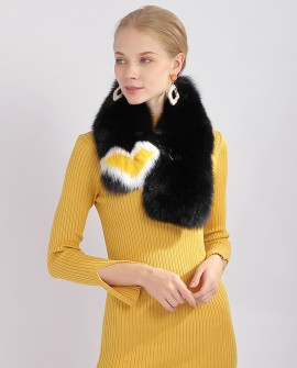 Black Fox Fur Scarf 371a